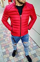 Мужская куртка без капюшона демисезонная красная и темно-синяя Сл 1896
