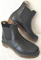 Женские ботинки челси Dr. Martens большого размера, демисезонные из натуральной кожи чёрного цвета Chelsea, фото 1