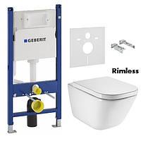 Комплект: GAP Rimless подвесной унитаз с сиденьем с системой плавного опускания + GEBERIT Duofix монтажный ком
