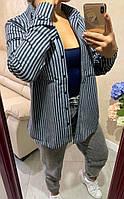 Женская рубашка теплая, ткань байка (Турция), на пуговицах в полоску (42-46), фото 1