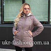 Женская весенняя куртка большого размера 50-60 шоколадный
