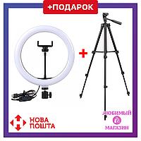 Светодиодное селфи-кольцо LED Light 20 см + Штатив в ПОДАРОК! Кольцевая лампа для фото. Круговой свет