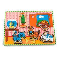 Дерев'яна рамка-вкладиш Viga Toys Домашні вихованці (56440)