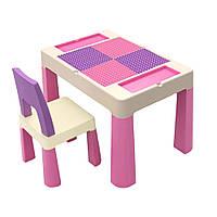 """Детский многофункциональный столик POPPET """"Колор Пинк 5 в 1"""" и стульчик"""