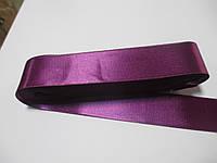 Стрічка атласна  двостороння 3 см.  Лента атласная двухсторонняя.фукція темна Н-03-040. Цына за 1 метр