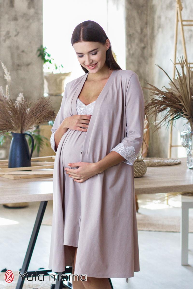 Красивый комплект из ночнушки и халата с кружевом для беременных и кормящих мам Maya комплект NW-3.1.2
