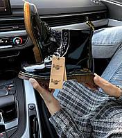 Женские ботинки Dr.Martens Black \ Др. Мартенс Черные Лак \ Жіночі кросівки Др.Мартенс Чорні Лак