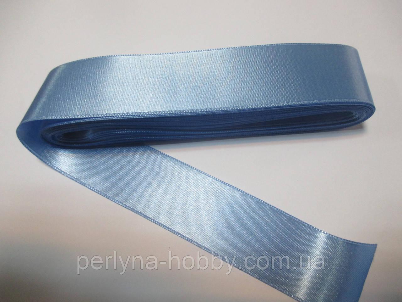 Стрічка атласна двостороння 3 см, голуба Н 093. ціна за 1 метр