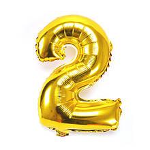 """Кульки повітряні, фольговані, 32"""", цифри, 2, золото, Імп"""