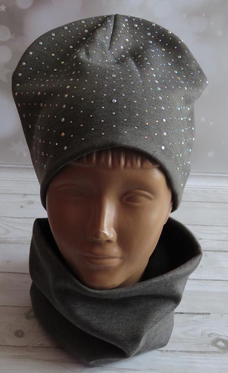 Детская трикотажная комплект шапка и баф, с искусственным камнем, серый