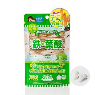 Japan Gals Смачна добавка Otegaru Yosan з залізом (10 мг) та фолієвою кислотою (200 мг) 150 піг на 30 днів