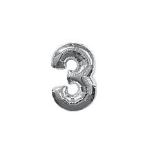 """Кульки повітряні, фольговані, срібло, 32"""", цифри, 3, Імп"""