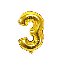"""Кульки повітряні, фольговані, 32"""", цифри, 3, золото, Імп"""