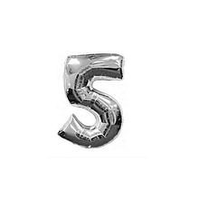 """Кульки повітряні, фольговані, срібло, 32"""", цифри, 5, Імп"""