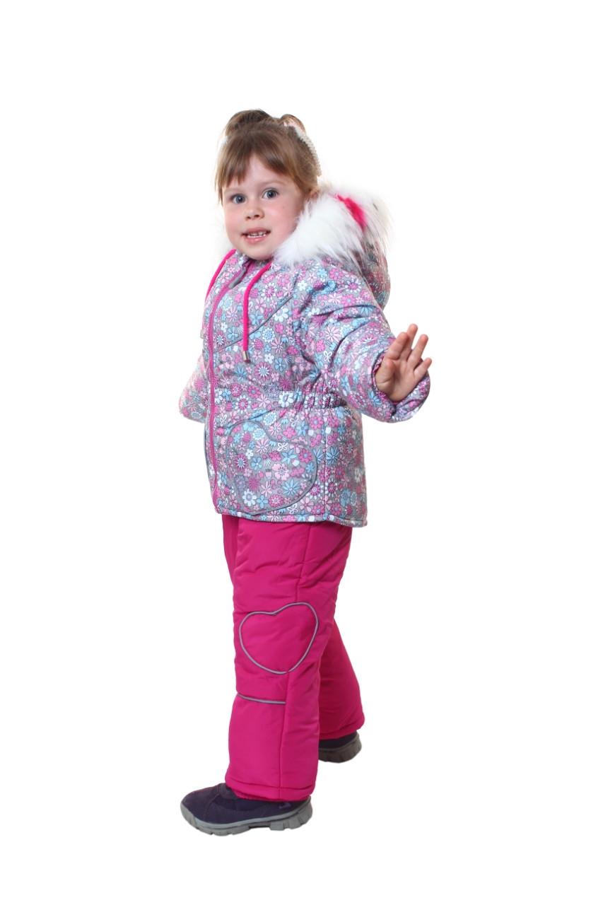 Зимний костюм (куртка и полукомбинезон) для девочки 86-104рост