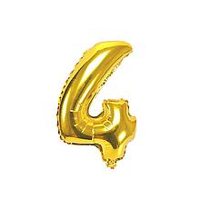 """Кульки повітряні, фольговані, 32"""", цифри, 4, золото, Імп"""
