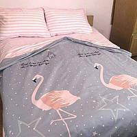 Качественное постельное белье, семейка - Розовый фламинго