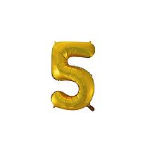 """Кульки повітряні, фольговані, 32"""", цифри, 5, золото, Імп"""