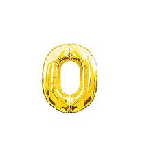 """Кульки повітряні, фольговані, 32"""", цифри, 0, золото, Імп"""