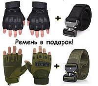 Перчатки тактические Oakley мужские + ремень тактический пояс, черный
