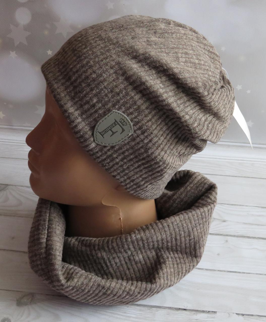 Детская трикотажная комплект шапка и баф, Nord ангора, коричнеий