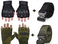 Ремень тактический Assault Belt V2 + перчатки стрелковые рыбацкие OAKLEY Glove Black (набор)