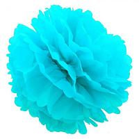 Декор бумажные Помпоны 20см голубой 0001