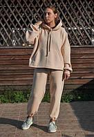 Жіночий теплий трикотажний костюм Damali бежевий (544)