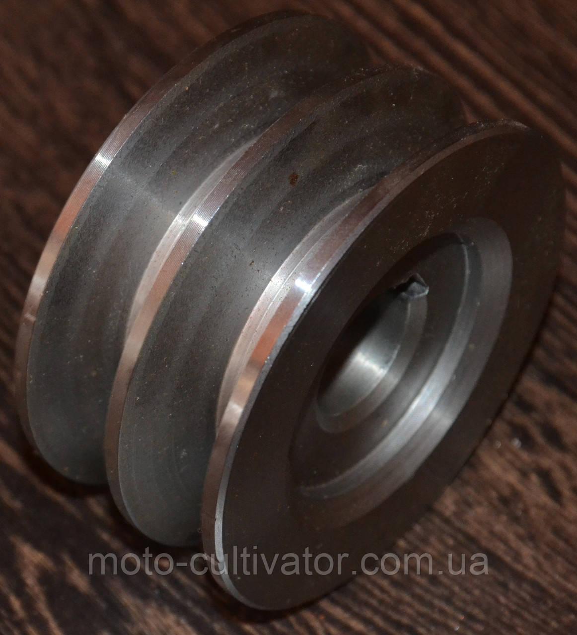 Шкив 2-х ручейковый (профиль Б) 22мм внутренний, наружный 85 мм