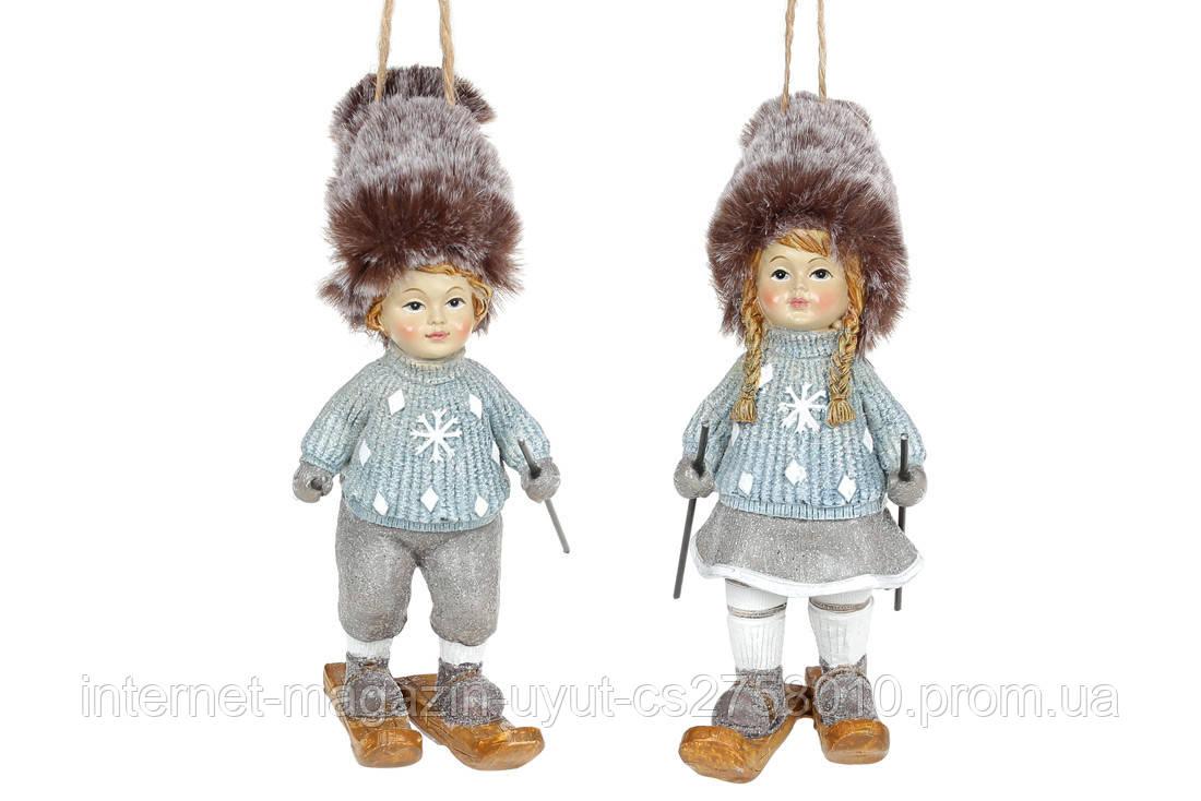 Набор 8 подвесных фигурок «Дети на лыжах» 14см, керамика