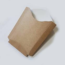 Упаковка для картоплі фрі картон Велика (буро-біла, максі) 150х140 50шт