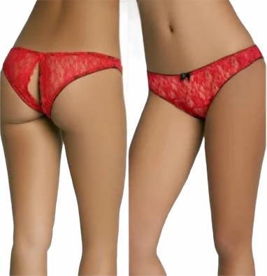 Кружевные трусики женские красные с разрезом