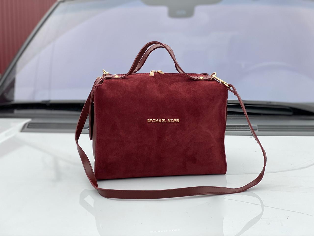 Бордовая замшевая сумка бочонок женская сумочка саквояж классическая замша+экокожа