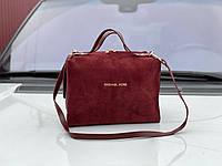 Бордовая замшевая сумка бочонок женская сумочка саквояж классическая замша+экокожа, фото 1