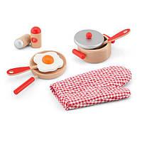 Детский кухонный набор Viga Toys Игрушечная посуда из дерева, красный (50721)