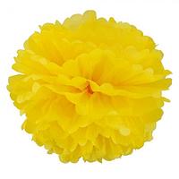 Декор бумажные Помпоны 20см желтый, фото 1