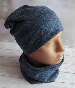 Детская трикотажная комплект шапка и баф, Nord Глория, синий