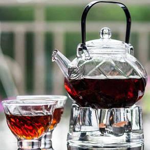 Подставка стеклянная с подогревом свечой под чайник, фото 2