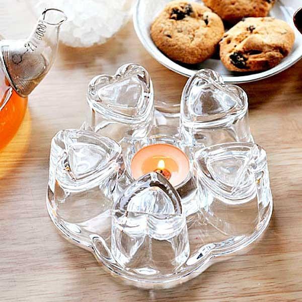 Подставка стеклянная с подогревом свечой под чайник