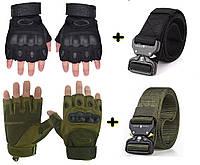 Тактический быстросьемный ремень Assault Belt V2 + Тактические перчатки Oakley черный (набор)