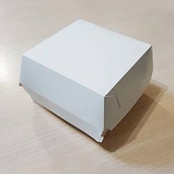 Упаковка для гамбургера картон Велика 110х110х80 біла 100шт