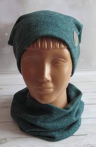 Детская трикотажная комплект шапка и баф, Nord Каро, зеленый