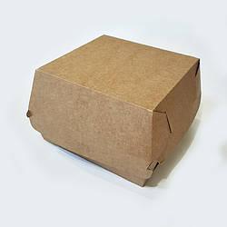 Упаковка для гамбургера картон Велика 110х110х80 бурий крафт 100шт