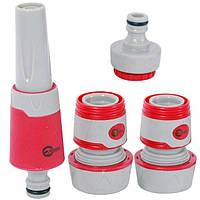 Насадка для полива с плавной регулировкой потока воды + адаптер с резьбой 1/2, 3/4 и 2 коннектора для шланга