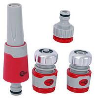 Насадка для полива с плавной регулировкой потока воды + адаптер с резьбой 3/4, 1 и 2 хромированных коннектора