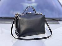 Черная женская сумка саквояж женская сумочка деловая классическая экокожа, фото 1