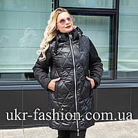 Женская демисезонная куртка больших размеров 50-60 черный