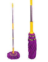 Веревочная швабра с металлической ручкой и трещоткой Максус Плюс 6117 фиолетовая 41х120см