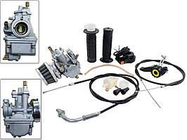 Карбюратор веломотора с регулировкой заслонки (+2 троса+ регулятор заслонки и блок руля)
