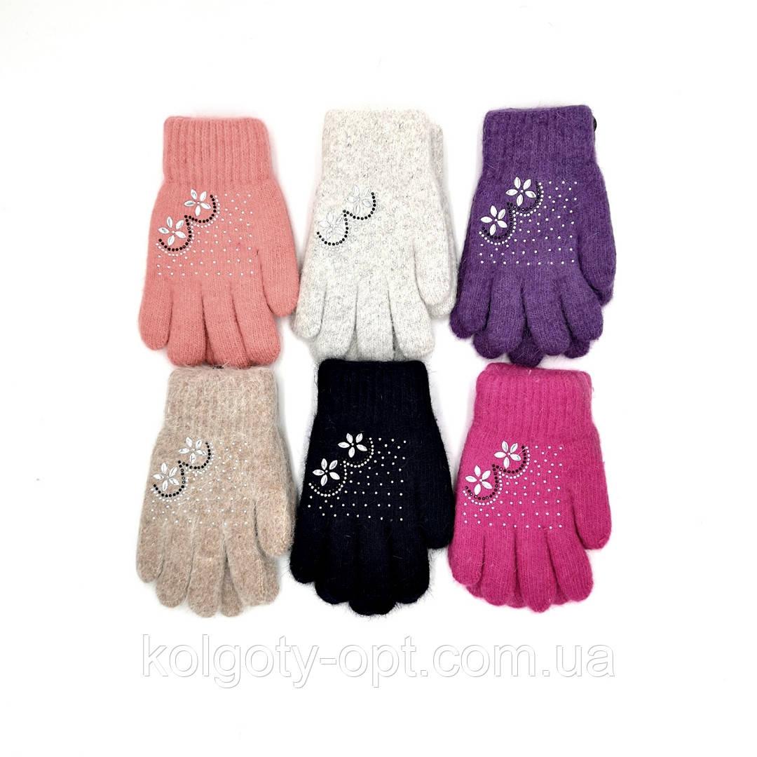 Зимние детские перчатки для подростков из ангоры двойные